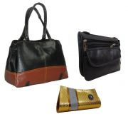 Estoss Set Of 3 Handbag Combo - Black Handbag, Black Sling & Golden Clutch