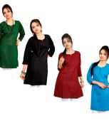 Grj India Multi Color Cotton Solids 3/4th Sleeves Round Neck Regular Wear Kurti