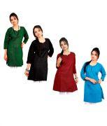 Grj India Set Of 4 Solids Cotton Kurti