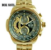 Imported Casio Edifice 558 Black Dial Full Gold Chain Watch For Men