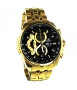 Casio Edifice 558 Black Dial Gold Chain Watch For Men