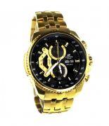 Casio Edifice 558 Black Dial Gold Chain Watch For Men