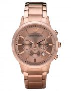 Imported Men's Chronograph Ar2452 Rose Dial Rose Gold Stainless Steel Watch