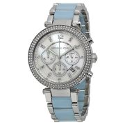 Imported Michael Kors Parker Mother Of Pearl Dial Silver And Blue Stainless Steel Mk 6138