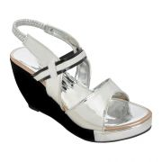 Altek Stylish Silver Patent Women Heel Wedges (code - 1369_silver)