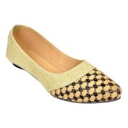Altek Plain Stylish Brown & Gold Ballerina For Women (code - Foot_1397_brown_p150)