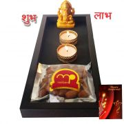 Maalpani Dry Fruits Gift Hamper Combo With Ganesh Idol And Unique Tealight Candle Holders And Candles Sticker Combo