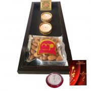 Maalpani Laxmi Pooja Tray Combo With Shree Yantra And Silver Laxmi Ganesh Coin With Premium Quality Dry Fruits N Greetings Card