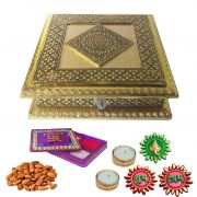 Maalpani Diwali Wishes With Golden German Dryfruit Box N Fancy Kankavati Shubh Labh Stickers N Greeting Card.
