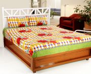 Welhouse India 3d Printed 1 Double Bedsheet With 2 Pillow Covers (code - 3d_db-003)