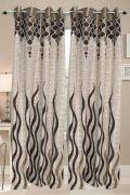 Welhouse India Beautiful Designer Cream & Brown Color Door Curtain (7 Feet)