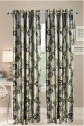 Welhouse India Set Of 2 Cream & Light Green  Color Door Curtain (9 Feet)