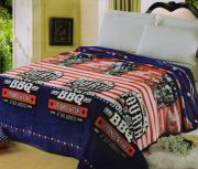 Welhouse India Soft Premium Blue & Red Striped Contemporary Design Double Blanket