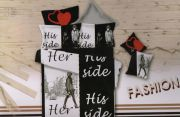Welhouse India 3D Her Side His Side Printed Double Badsheet With 2 Pillow Cover