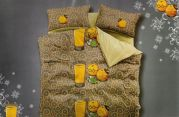 Welhouse India Orange And Juice Printed 1 Double Bedsheet With 2 Pillow Cover