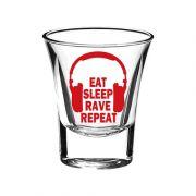 10 Am Eat Sleep Rave Repeat Shot Glass  ( SGESRB4 )(Set  Of 2)