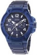 Guess Round Blue Metal Watch For Men_code-w0041g2