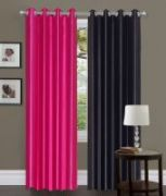 Set Of 2 Sai Arpan Plain Polyester Pink & Black Door Curtain