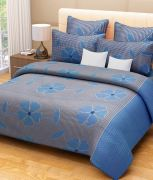 Sai Arpan's Blue Cotton Double Bed Sheet With Pillow Covers