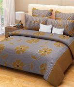Sai Arpan's Brown Cotton Double Bed Sheet With Pillow Covers