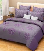 Sai Arpan's Puprle Cotton Double Bed Sheet With Pillow Covers