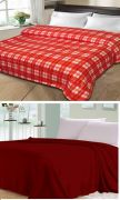 Sai Arpan Plain Double Bed AC Blanket Buy 1 Get 1 Free_RedCheck-Red Plain