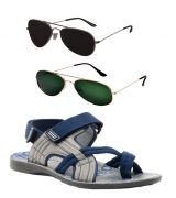 Combo Of Provogue And Fastfox Stylish & Attractive Blue And Grey Floater Sandals And Two Aviators
