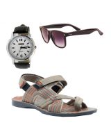 Provogue Stylish & Attractive Beige Floater Sandals With Black Wayfarer And Lotto Watch