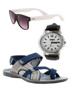 Provogue Stylish & Attractive Blue And Grey Floater Sandals With White Wayfarer And Lotto Watch
