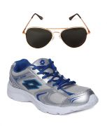 Lotto Sport Sliver And Grey Running Shoes And Lotto Black Aviator