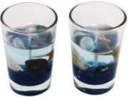 Zarsa Glass Gel Set Candle(Blue, Pack Of 2)