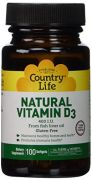 Country Life, Natural Vitamin D3, 400 I.U., Softgels, 100-Count