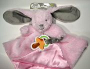 Blankets & Beyond Nunu Pink Plush Bunny Security Blanket Rattle And Pacifier Holder 15 Inches X 15