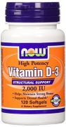 NOW Foods Vitamin D-3, 2,000 IU, 120 Softgels