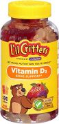 "L""il Critters Vitamin D3 Bone Support Natural Fruit Flavors -- 190 Gummy Bears"