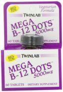 Twinlab Mega B-12 Dots Vitamin B-12, 5000mcg, 60 Tablets (Pack Of 2)