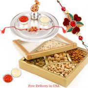 Silver Rakhi Thali With Dryfruits For Usa