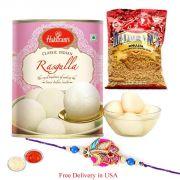 Haldirams Rasgulla And Bhujia With Rakhi For Usa