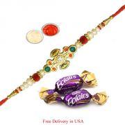 Designer Ethnic Rakhi With Chocolates For Usa