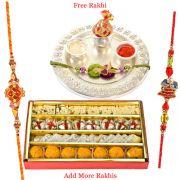 Haldiram Assorted Sweets N Silver Plated Rakhi Thali