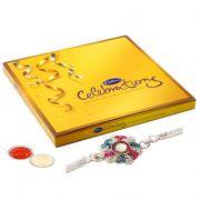 Silver Plated Rakhi With Cadbury Celebration For Kids