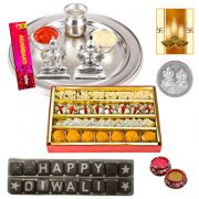 Puja Thali Hamper With Chocolate And Sweets With Free Diya