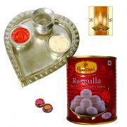 Puja Aarti Thali And Rosogolla For Dwali And Free Diya