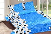 Royal Choice Dark Blue Cotton Double Bedsheet Alongwith Two Pillow Covers