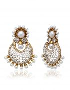 Arum Designer Stone With Pearl White Earring