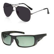 Buy1 Get 1 Free - Black Gradient Aviators And Wraparound Sports Sunglasses