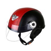 MP Open Face Leather Look Motorbike Red/black Helmet For Gents/men