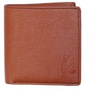 White Bear Men Tan Artificial Leather Album Wallet For Cards
