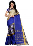 Wama Fashion New Arrival Festival Special Designer With Golden Jacquard Work Cotton Sarees(tz_arun_blue)