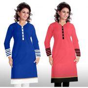 Buy 1 Miss Perfect Long Cotton Pink Kurti & Get 1 Long Cotton Blue Kurti Free ( Blue White & Pink Black)